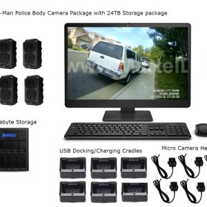 6-Man Police Body Camera Package with 24 Terabyte Storage package On-Premises